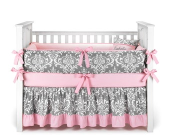 Damask Gray Crib Bedding Set - by Sofia Bedding (choose trim color)
