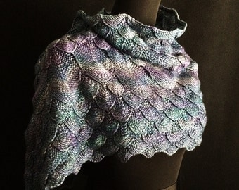 Azure Dragon / Qinglong / 青龍 - Cowl - Wrap - Hand Knitting Pattern - Scales Texture