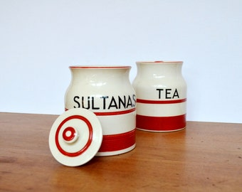 Vintage Kitchen Canisters Red and White Retro (set of 2)