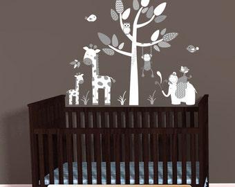Mini Jungle Decal, Gray White Chevron Theme, Elephant Wall Decal, Giraffe decal, Monkey wall decal, Baby Shower Gift, Nursery Wall Decals