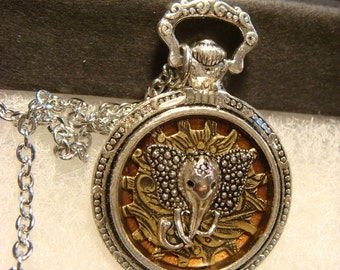 Silver Elephant Head over Gear Pocket Watch Style Pendant Necklace (1978)