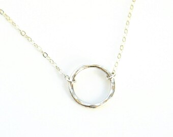 Silver Circle Necklace, Dainty Layering Necklace, Sterling Silver Hammered Ring Necklace, Everyday Jewelry, Delicate Circle Outline