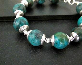 Boho Chic Turquoise Bracelet | Sterling Silver Jewelry | Statement Bracelet | Chunky Bohemian Jewelry