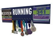 Use a running medal holder and race bibs display to organize all your medals - Running medal display - running medal rack