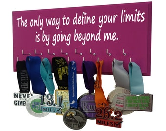 medals holders with inspirational quotes, The only way to define your limits is by going beyond them, Gifts for runners, medal holder rack
