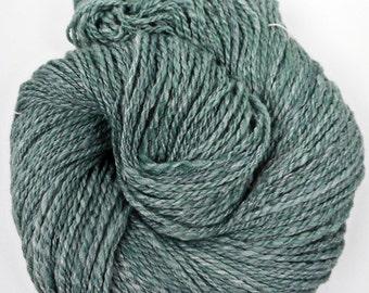Hand Spun Blue-Green Bamboo and Merino Yarn