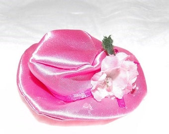 Pretty pink Easter hat with pink flowers & ribbon for Fashion Dolls - seh3