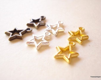 Bulk 50 Star Antiqued Bronze/Bright Silver/Gold plated 13x10mm SB599