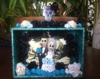 Day of the Dead Wedding Nicho/Shrine/Altar Piece/Cake Topper.