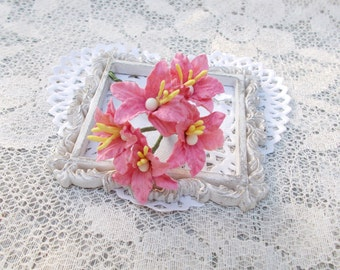"""NEW """"MINI"""" Shabby Chic Lily Flowers for Scrapbooking, Card Making, Altered Art, Tags, Mixed Media, Wedding, Pink"""