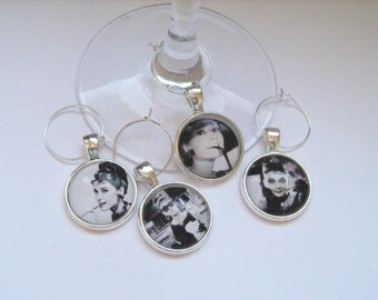 Breakfast at Tiffany's..Audrey Hepburn Glass Wine Charms