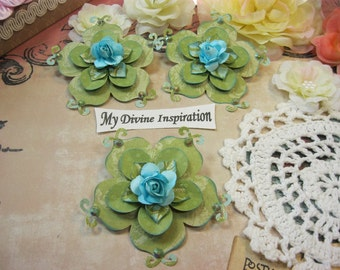 Vintage Shabby Chic Handmade Paper Flowers, Paper Embellishments for Scrapbook Layouts Cards Mini Albums Tags and  Paper Crafts