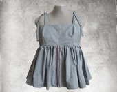 Stripe blue top/Baby doll tank/Tie shoulder