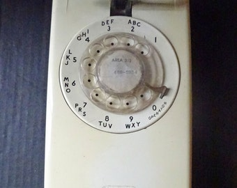 Vintage Rotary Telephone Western Electric off white cream wall dial phone