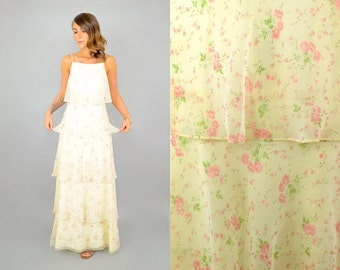 70's TIERED Floral Maxi Dress