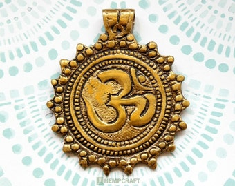 Tibetan Brass Om Pendant, 1pc Round Medallion, 54mm