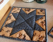 Set of 2 Quilted Pot Holders / Country Kitchen Pot Holders / Hot Pads / Trivets /  Mini Quilts