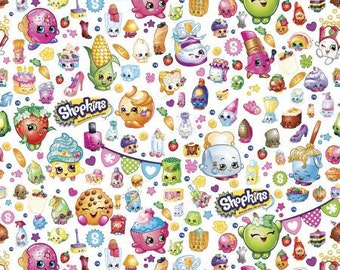Shopkins Party White Cotton Fabric, 1 yard