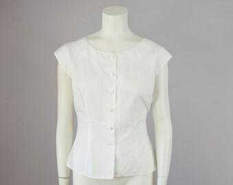 50s Vintage Crisp White Cotton Cap Sleeve Button Down Shirt (S, M)