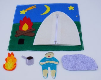 Camping- Tent with Zipper Quiet Book Page / Quiet Book / Quiet Activity Book / Birthday Gift For Toddler / Childrens Book /