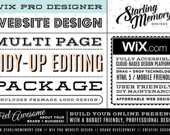 Wix Website TIDY-UP EDITING Multi-Page Package - Includes PreMade Logo - Wix WebDesign Package - Wix Pro - Wix Website Clean Up - Wix Pro