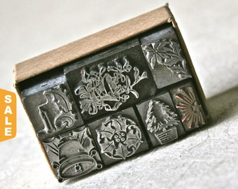 August is Letterpress Month - 20% off Christmas Themed Printers Dingbats or Ornaments for Printing Stamping and Decor