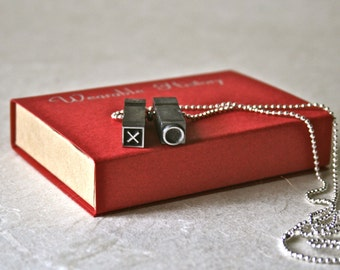 Romantic XO Pendant from Vintage Letterpress Type in Assorted Fonts for Unique Unisex Gift