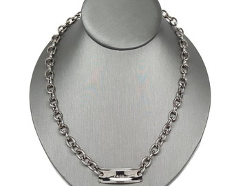 Tiffany & Co 1837 Titanium and 925 Sterling Silver Tag Chain Necklace