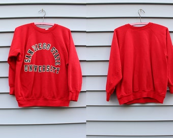 Vintage Vtg 1990's 90's SAN DIEGO University Bright Red with Black Lettering Crew Neck Prep Sweater Hipster Grunge California Women's Small