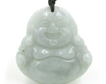 Natural Jadeite Gem Happy Lucky Tibetan Buddhist Buddha Pendant Talisman 25mm*25mm  cy187