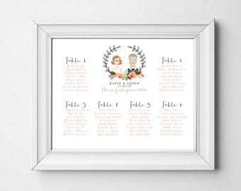 Printable Wedding Seating Chart - Custom Illustrated Portrait