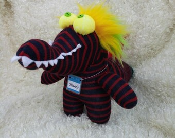 Sock Monster named Marvin can be your cuddly dragon or dinosaur