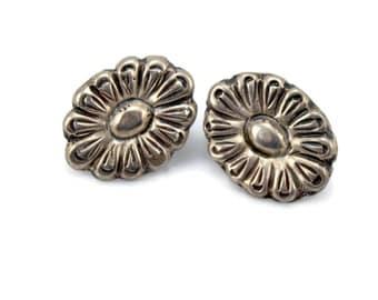 Coro Mexico Sterling Silver, Flower Earrings, Hector Aguilar, Coro Earrings, Screw Back Earrings, Estate Jewelry, Sterling Earrings Earrings