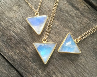 Moonstone Necklace, Gold Necklace, Gemstone Necklace, Geometric Necklace, Triangle Pendant, Moonstone Pendant, Bezel Set Moonstone