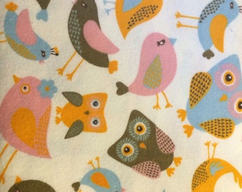 Kissing Owls and Birds - Cotton Flannel Fabric - BTY