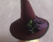 Handmade 1/12 scale dollshouse miniature aubergine silk black rose witches hat