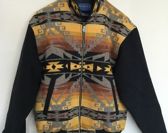 HALF OFF Vintage Authentic Pendleton Jacket High Grade Western Wear Wool Southwestern Tribal Aztec M