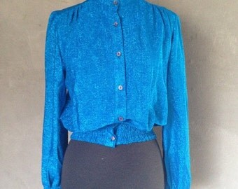 40% OFF Vintage 1970s (C) Blue Glitter Blouse Rock Candy of California M/L