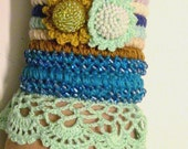 Bracelet boho chic crocheted,Crochet Cuff Bracelet, Beaded Bracelet, Crochet Jewelry, Colorful Crochet Bracelet Cuff, Freeform crochet Cuff