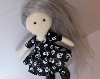 Felt doll, OOAK, fabric doll, cloth doll, hand-made, hand-sewn, kawaii