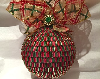 Holiday Glass Bead and Glitter Ornament