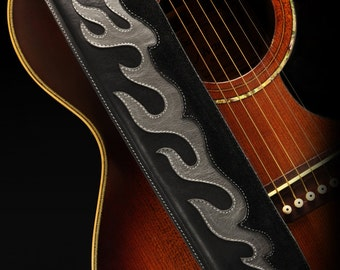 Leather guitar strap, black guitar strap: Emberfire Guitar Strap