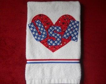 Patriotic Kitchen or Bathroom Hand Towel Heart USA