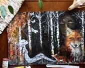 Mixed Media Painting - Star Gazer - Fox Spirit - Mixed Media Painting