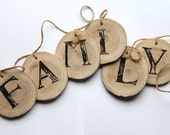 family banner - photo prop - wood tree branch slice and jute twine