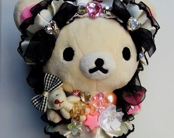 Rilakkuma Bear Decoden Gothic Lolita Strap Plushie