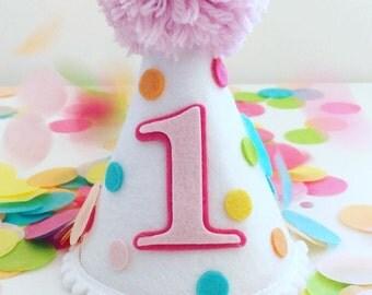 Girls First Birthday Hat, Pastel Dots Birthday Hat,First Birthday Hat, Birthday Hat,Pastel Rainbow Birthday Hat, Party Hat: Pastel Sprinkles