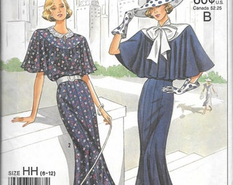 Simplicity 9360 Vintage 1920s Anniversary DRESS Pattern Tie Collar And Capelet Size 6-12 UNCUT