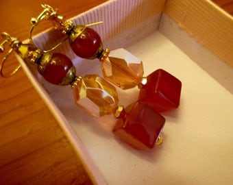 Luxe, Massively Faceted Large Octagonal SWAROVSKI Crystal, CARNELIAN Squares & Tibetan CARNELIAN Pierced Vintage Dangle/Drop Earrings
