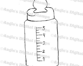 Baby Bottle Digital Stamp Image